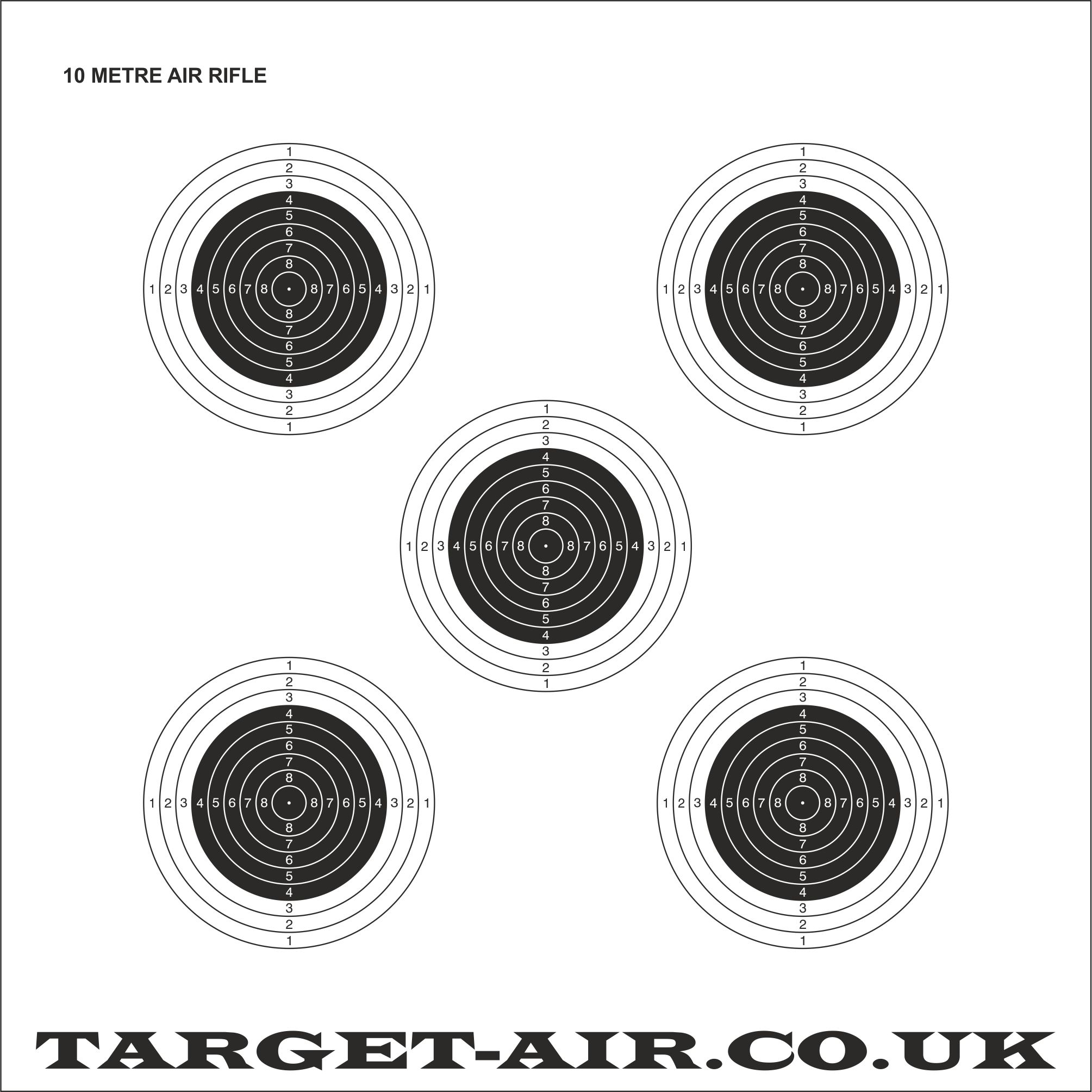 picture relating to Printable Air Rifle Targets named 10 Metre Air Rifle ISSF/NSRA - Educate Capturing Objectives, 250gsm Card